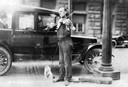 Street Musician with Violin and Dog