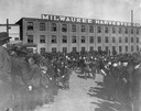 Crowd outside International Harvester's Milwaukee Works
