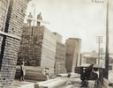 Stacking Wood inside Deering Works Stock Yard