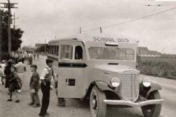Children Getting out of International School Bus