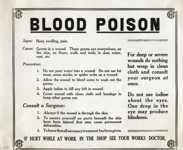 Blood pioson Health and Safety poster
