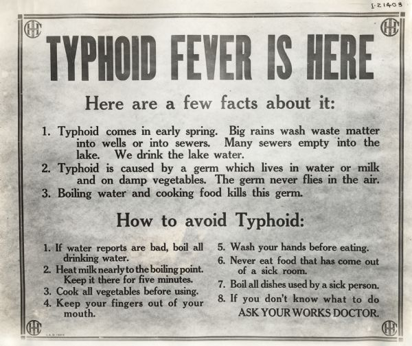 Industrial Health Poster: Typhoid Fever | Poster | Wisconsin ...