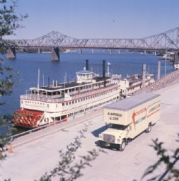Moving Truck with Sternwheel Steamboat on the Ohio River