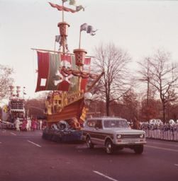 Truck Towing Pirate Ship Float in Parade