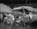 Damaged Greyhound Bus