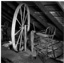 Spinning Wheel and High Chair in the Attic