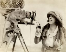 Dorothy Phillips, a Capuchin Monkey, and a Bell and Howell Motion Picture Camera