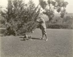 Earle Williams and an Ameican Staffordshire Bull Terrier on the Golf Course