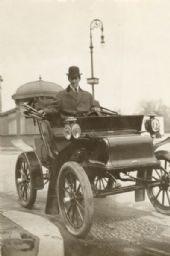 Fred Stone in an Early Automobile.
