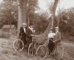 Bicyclists Standing Near a Tree
