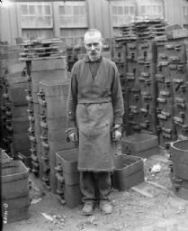Factory Worker Standing in Osborne Works Yard