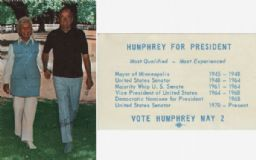 Hubert Humphrey Campaign Card