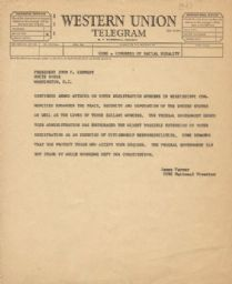 Telegram to President Kennedy