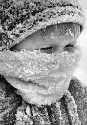 Young Boy in Blizzard
