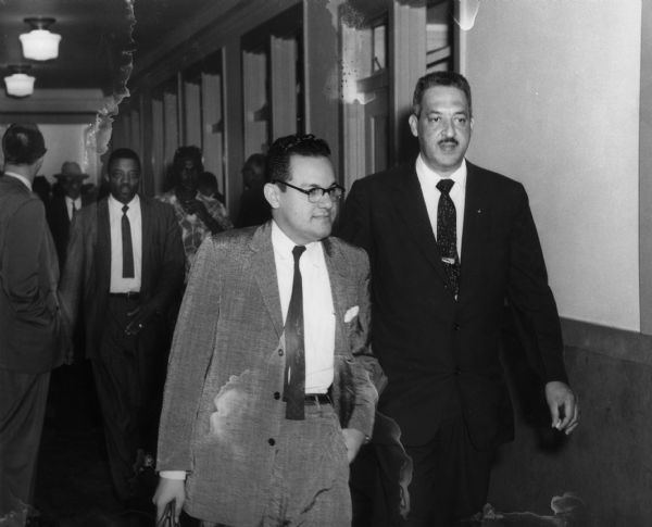 Wiley Branton (left) and Thurgood Marshall at a court hearing about the desegregation of Little Rock public schools, 1957, Daisy Bates Papers, WHS