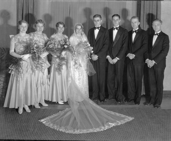Frances Walker and Robert Goetz wedding party in the bride's home, Shorewood Hills. Alternate view.