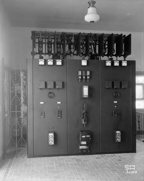 Switchboard at City of Madison water well no. 4 pumping station, 5 N. Randall Street.