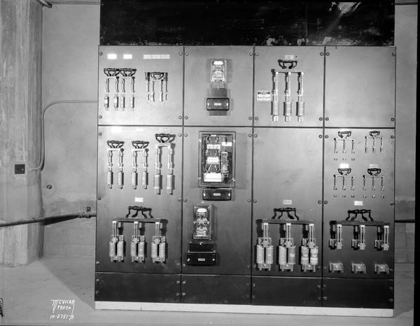 Wisconsin Telephone Co. switchboard, front view.
