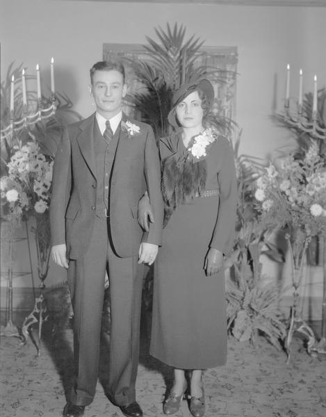 Valeria M. Keppel and Roland Fritz on their wedding day at the home of her parents, 825 South Shore Drive.