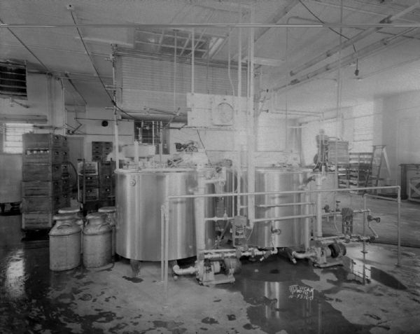 Consumer's Co-op Dairy. Interior view of vats.