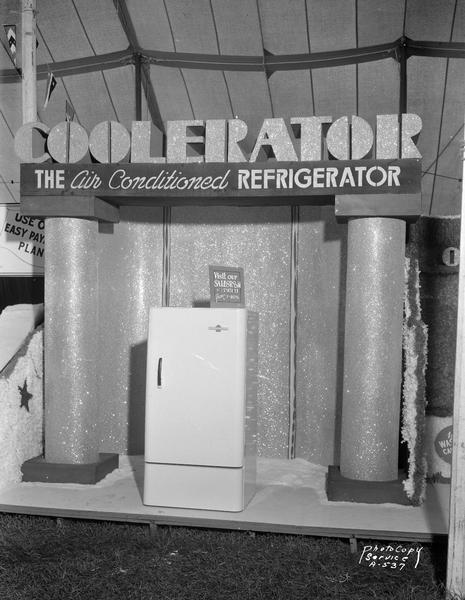 Oscar Mayer & Company Coolerator display at the West Side Business Men's Harvest Festival. The Oscar Mayer Coolerator Store was located at 401-405 State Street.