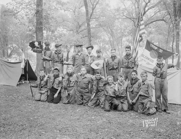 Group portrait of Boy Scouts, Troop #30 from Glenwood Moravian Church, at Four Lakes Council Camporee in Olin Park.