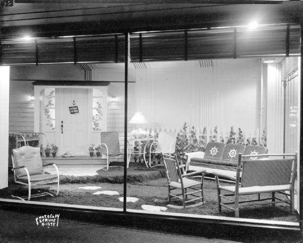Leath furniture co display window photograph for Furniture history society