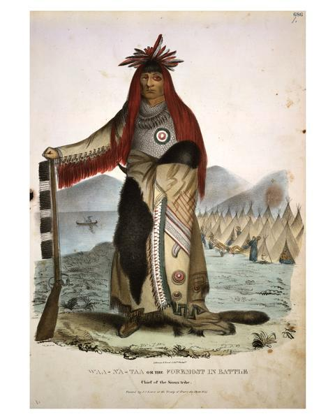 Waa-Na-'Taa or The Foremost in Battle, Chief of the Sioux Tribe. Hand-colored lithograph from the Aboriginal Portfolio, painted at the Treaty of Prairie du Chien (1825).