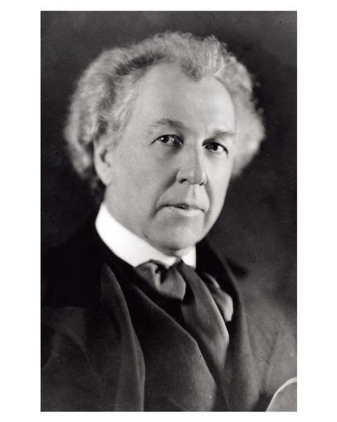 Studio portrait of Frank Lloyd Wright.