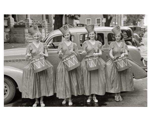 Beechnut Gum girls, posed in front of an automobile, promoting the product for a national advertising campaign.