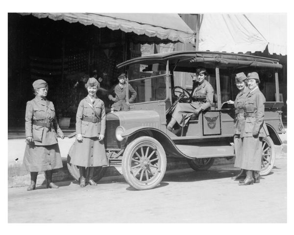 Motor Corps of the National League for Women's Service. The corps performed errands and other services for all organizations engaged in war activities, answering an average of 600 calls each month.