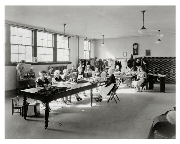 A group of Fond du Lac women sews clothes for a Civil Works Administration project in 1934. The CWA was an emergency program that lasted from November 1933 to April 1934 and put 4,000,000 Americans to work for a short time.