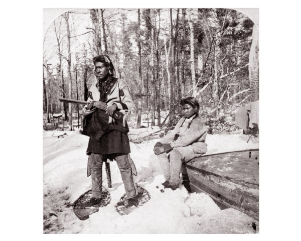 Chippewa (Ojibwa) Indian deer hunt on snow shoes.