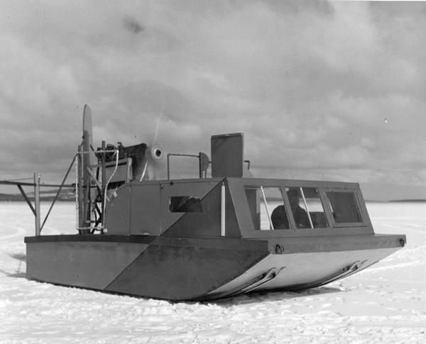 A boat-type windsled on frozen Lake Superior.