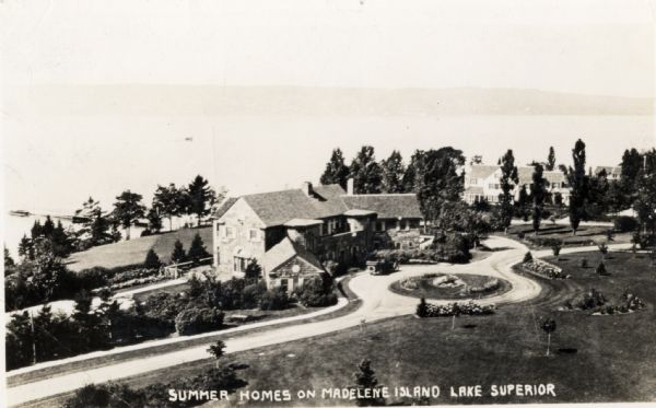 Aerial view of Woods' Manor on shores of Madeline Island. The manor was built in 1900 for summer resident Colonel Frederick Woods from Nebraska.