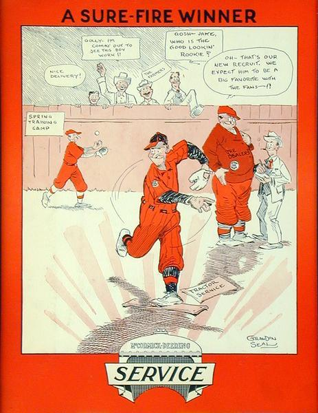 "Advertising placard for McCormick-Deering tractor service showing a cartoon of men playing baseball with onlookers peering over a fence. Dialog balloons contain text praising the ""good lookin' rookie . . .  tractor service."""