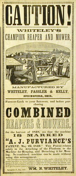 Advertising handbill for the Champion reaper and mower produced by Whiteley, Fassler & Kelly of Springfield, Ohio.