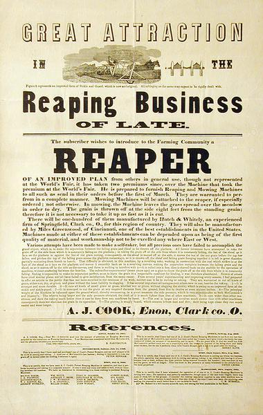 Advertising handbill for reapers designed by A.J. Cook and manufactured by Hatch and Whitely of Springfield in Clark County, Ohio.