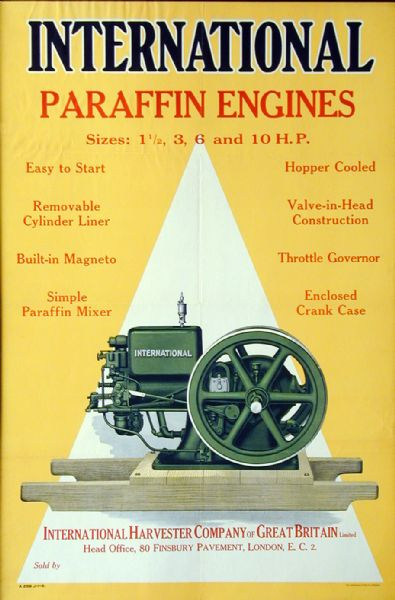 "Advertising poster for International paraffin engines featuring color illustration of the machine. Printed by Herman Litho. Co. of Chicago for distribution in England. Imprinted with the name ""International Harvester Company of Great Britain Limited."""