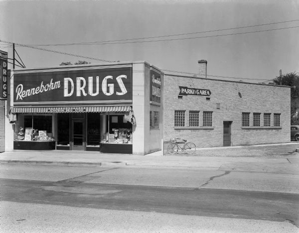 Rennebohm Drugstore #12 at 2526 Monroe Street. Originally established by pharmacist Harry Consigny, this operation was purchased by Rennebohm in 1936.