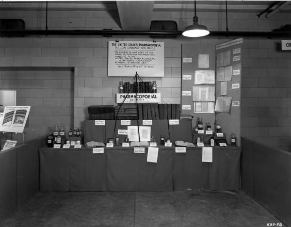 View of an educational exhibit set up under the auspices of George Beal, for the U.S. Pharmacopeial Convention, at the dedication of the Mellon Institute.