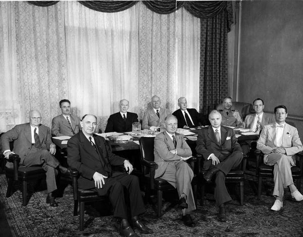 Members of the U.S. Pharmacopeial Convention  Board of Trustees, 1950-1960. Picutred are, from left to right: Robert Swain (Chairman), Adley Nichols (Secretary),  Patrick Costello, Allen Bunce (President), Ernest Little, Arthur Degraff, Carson Frailey, Austin Smith, W. Paul Briggs (Treasurer), Lloyd Miller (Director of Pharmaceutical Revision), and Theodore Klumpp (Vice President).