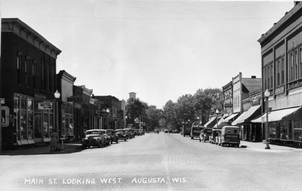 View of the downtown business district. Livesey Drugs is on the left side of the street.