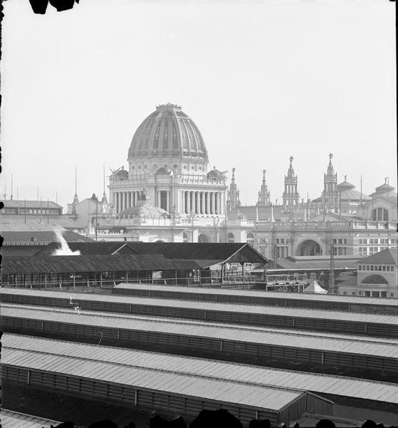 Elevated view of terminal station at Jackson Park; Administration Building in background.