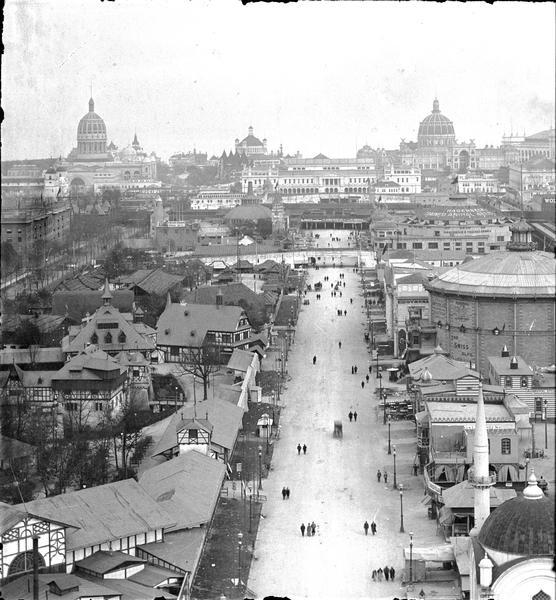 Elevated view of the Columbian Exposition; from the midway looking east from the Ferris wheel.