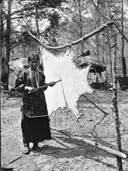 Ho-Chunk woman tanning buckskin. Typical dwellings (chipotekes) are in the background.