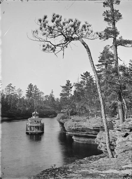 View from Sexton's Landing of the river and a steamboat. (Steamboat probably <i>Alexander Mitchell</i>).