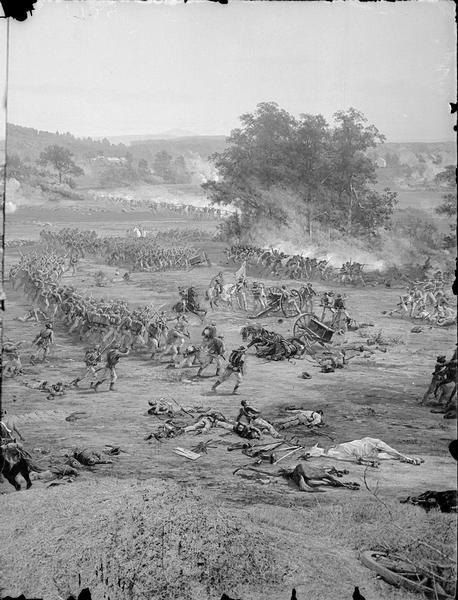 "Stereograph from the Chicago Panorama of the Battle of Gettysburg Representing Pickett's Charge at 4 P.M., July 3rd, 1863: Death of Lieutenant A.H. Cushing as he falls into the arms of Sergeant Fuger at the Bloody Angle, in line with the ""umbrella-shaped trees"" that marked the objective point of the charge; a section of an oil painting of the Cyclorama of Gettysburg by French artist Paul Dominique Philippoteaux. From Bennett's series ""Wanderings Among the Wonders and Beauties of Western Scenery."""