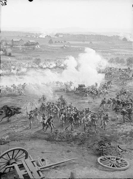 "Stereograph from the Chicago Panorama of the Battle of Gettysburg Representing Pickett's Charge at 4 P.M., July 3rd, 1863: Confederate Prisoners and Explosion of Federal Caissons, a section of an oil painting of the Cyclorama of Gettysburg by French artist Paul Dominique Philippoteaux. From Bennett's series ""Wanderings Among the Wonders and Beauties of Western Scenery."""