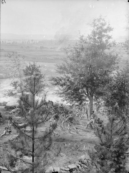 "Stereograph from the Chicago Panorama of the Battle of Gettysburg Representing Pickett's Charge at 4 P.M., July 3rd, 1863: Lieutenant Montgomery and Portion of 69th Pennsylvania, a section of an oil painting of the Cyclorama of Gettysburg by French artist Paul Dominique Philippoteaux. From Bennett's series ""Wanderings Among the Wonders and Beauties of Western Scenery."""
